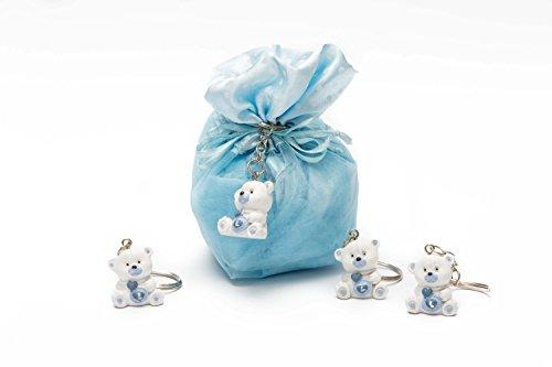 10 sacchetti portaconfetti celeste + 10 portachiavi orsetto celeste