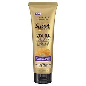 Suave Professionals Visible Glow Self-Tanning Body Lotion,Fair to Medium(7.5 fl