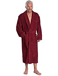 Mens Pure Cotton Shawl Collar Towelling Gown
