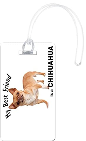 Rikki Knight My Best Friend is A Brown Chihuahua Dog Flexi Luggage Tags, White