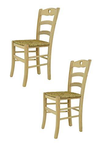 Tommychairs set 2 sedie classiche cuore 38 per cucina bar e sala da pranzo, con robusta struttura in legno di faggio levigato, non trattato, 100% naturale e con seduta in paglia