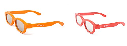 Ultra Mixed Pack of 2 Pairs Childrens Passive 3D Glasses 1 Orange 1 Red for Kids Polorized Eyewear Universal for Passive Cinema and Projectors Such as RealD Toshiba LG Panasonic Sony TVs