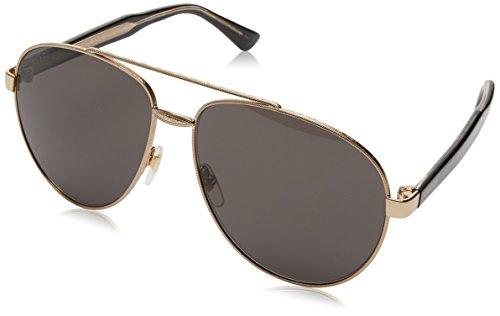 Gucci Unisex-Erwachsene GG0054S-001 Sonnenbrille, Braun (Dorado/Negro), 61