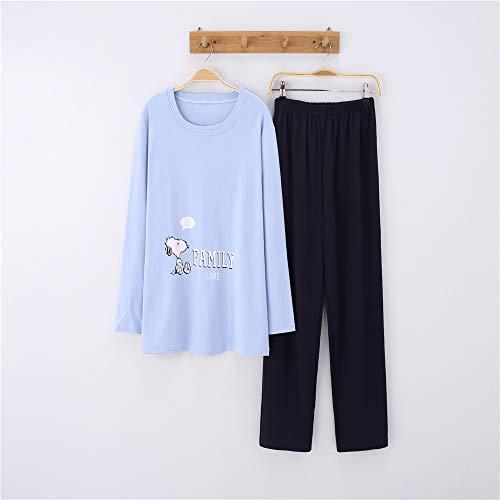 Hund Flanell-pyjama Set (Damen Baumwolle Schlafanzug Pyjama Set Lang Zweiteilige,Paar Baumwolle Langarm Männer und Frauen Anzug zu Hause Service A-10 männlich M)