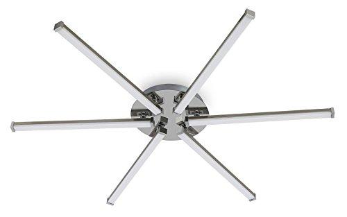 Trango 6-flammig Design Deckenleuchte mit 3-Stufen dimmbar inkl. 6x LED Module (6x500Lumen - 6x5.0W) - 3000K warm-weiß - Nickel/chrom TG3154