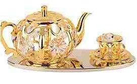 Crystal Temptations Gold Plate & Crystal Tea Set