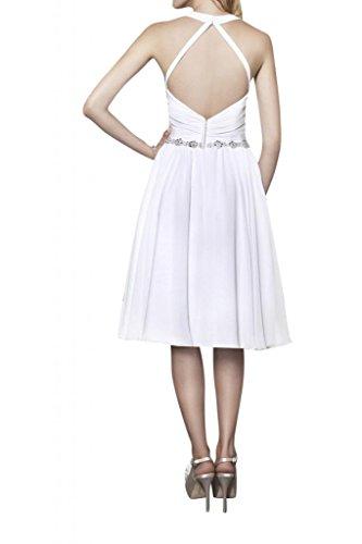 TOSKANA BRAUT Modisch Rueckenfrei Traum Abendkleider Kurz Chiffon Braut  Cocktail Party Ball Hochzeitskleider Weiß
