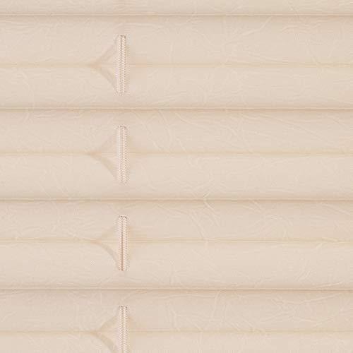 Lichtblick Plissee Klemmfix, 60 cm x 130 cm (B x L) in Creme, ohne Bohren, Sicht- und Sonnenschutz, lichtdurchlässig & blickdicht