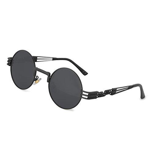 AMZTM Retro Steampunk Verspiegelt Sonnenbrille Klassischer Kreis Hippie Brille für Damen Herren Polarisierte Linse Runder Metallrahmen UV400 Schutz Alte Mode Brille (Schwarz Rahmen Grau Linse, 49)
