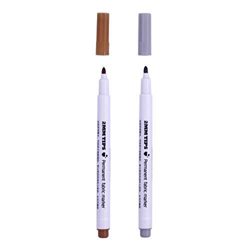 P Prettyia 2 Pcs Stoff Marker Stifte Kreidestifte Fabric Maker Pens -Braun, Grau - für Namensschilder Label Kleidersack