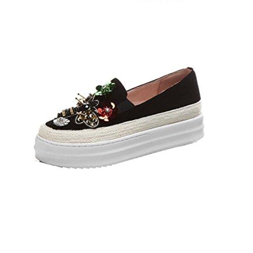 QPYC Damen Wohnung mit Schuh Anti-Samt-Oberfläche innerhalb und außerhalb aller echten Leder Stickerei Blumen Biene lose Kuchen Schuhe Big Code , black , 36