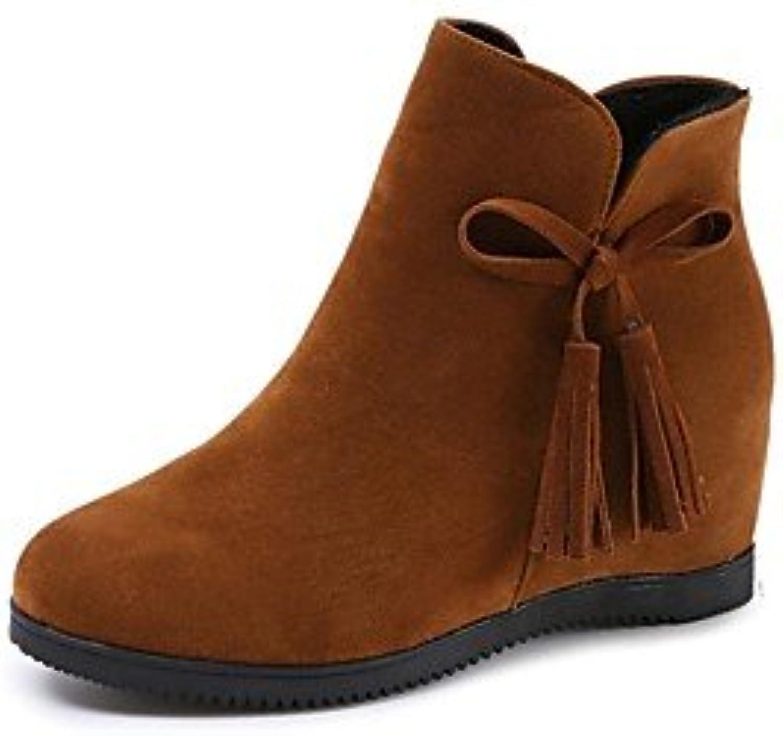 RTRY Zapatos De Mujer Suede Otoño Botas Botas De Combate Talón Plano Ronda Toe Bowknot Casual De Color Rojo Marrón...