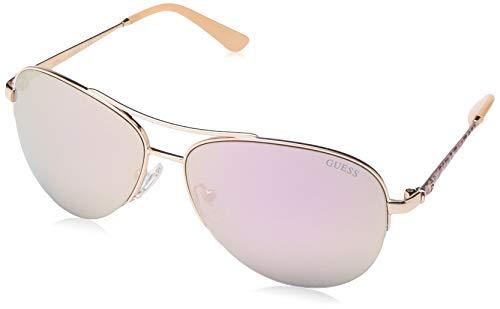 Guess Unisex-Erwachsene GU7468 28C 59 Sonnenbrille, Gold (ORO Rosa Lucido/Fumo Specchiato)