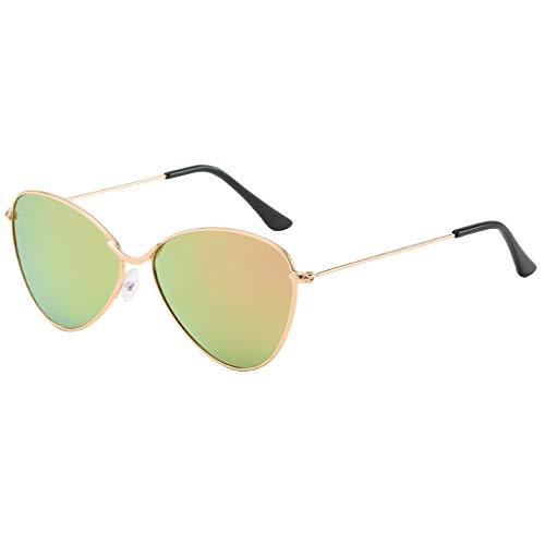 Feifish Sonnenbrillen Sonnenbrillen für Männer Frauen Polarized Metal Mirror Semi-Rimless Frame Glasses Klassische Flieger-Sonnenbrille Im Matt Spiegel cat Full Color