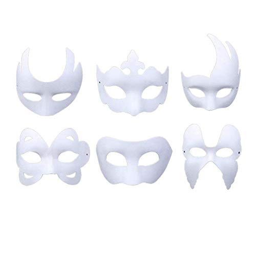 RXBC2011 Weiße Maske, 6pcs Maske Unlackiert Maskerade Maske -
