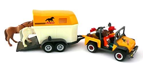 playmobil ® - 3249 - Reiterhof - Geländewagen mit Pferdeanhänger und 2 Pferden - Pferdetransporter