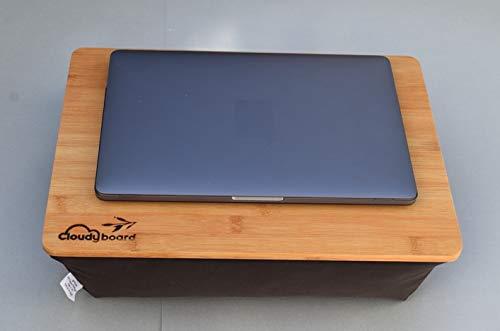 bequemes Laptopkissen schwarz aus beständigem Bambus Knietablett Laptray Unterlage Betttisch Notebook Laptop Tablett Bett Sofa Couch Ablage kissen