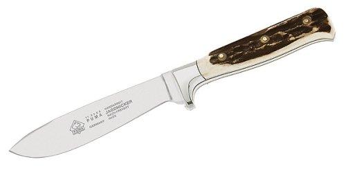 Puma Messer  Jagdnicker, Stahl 1.4116, Hirschhorn-Schalen, Lederscheide, 301912, Gr.E