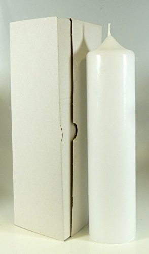Stumpenkerze weiss 25 x 6 cm, mit Karton zur Aufbewahrung - 4803 - Kerzenrohling 250x60 mm zum Basteln und Verzieren -