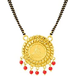 Voylla Lakshmi Engraved In Round Plain Surface In Women's Mangalsutra
