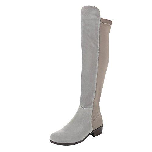Damen Schuhe Blockabsatz Klassischer Stiefel Overknee Stiefel Stiefel Blockabsatz Grau Braun
