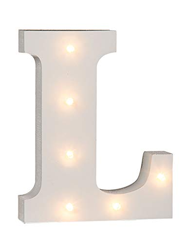 Lettera L in legno illuminabile Out of the blue, con 6LED
