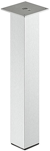 Alu Tischbein eckig Tischfuß gerade - Modell H1760 | Aluminium rostfrei klar lackiert | Tischgestell mittig Profil quadratisch 60 x 60 mm | Höhe: 400 mm | Möbelfuss ohne Höheneinstellung | Möbelbeschläge von GedoTec®