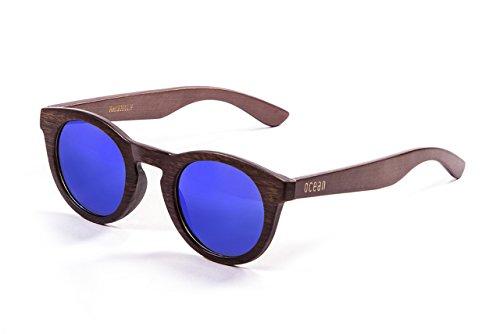 Ocean Sunglasses Occhiali da Sole San Francisco, Montatura In Bambù; Scuro, Aste In Legno Scuro, Lenti Revo Azzurre