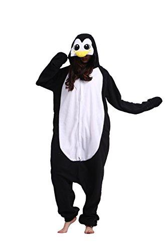 Magicmode Unisexe Dessins D'Animaux Kigurumi Pyjamas Adultes Grenouillère Anime Hoodie Cosplay Vêtements De Nuit Pingouin Noir S