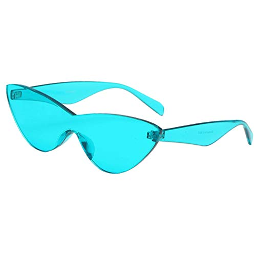 Baoblaze Frauen Retro Transparent Cat Eye Sonnenbrille Randlos Brillen Bunt - Blau