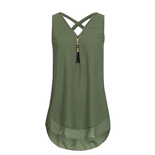 IMJONO Women Loose Sleeveless Tank Top Cross Back Hem Layed Zipper V-Neck T Shirts Tops(X-Large,Zg-Grün) -