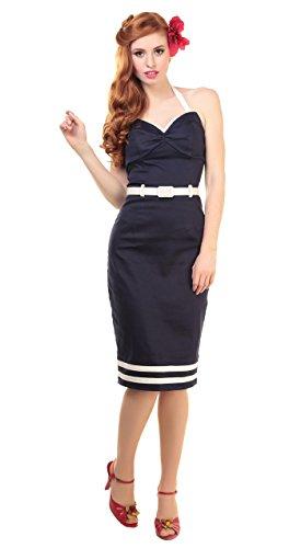 Collectif GINGER Sailor Nautical Wing Bust PENCIL DRESS Kleid - Navy Rockabilly Navyblau / Weiß
