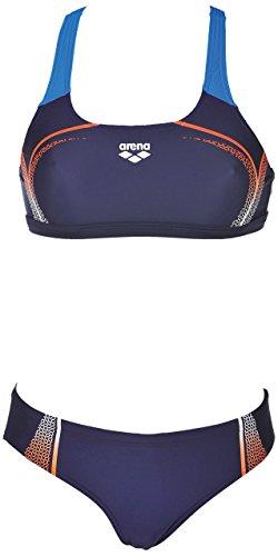arena Damen Sport Bikini Modular (Schnelltrocknend, UV-Schutz UPF 50+, Chlor-/Salzwasserbeständig), Navy-Mango (703), 44