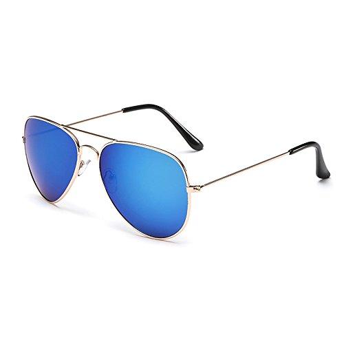 Sonnenbrille Fliegerbrille Brille in vielen Farbkombinationen Klassische Pilotenbrille Verspiegelt Unisex Sonnenbrille Damen Herren Pornobrille Sonne Sommer (C4-Rahmen Gold - Glas Blau verspiegelt)