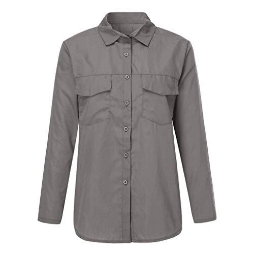 TMOTYE Crop Tops Damen Elegant Damen Shirt Revers Langarm Shirt Freizeit Bluse Langarm Knopf Pullover Tunika Oberteile Shirt mit Taschen -