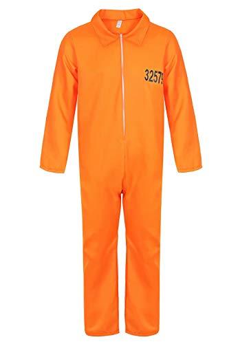 Josamogre Geflüchteter Gefangener Kostüm Overall Herren Gefangenenkostüm Orange Halloween Cosplay s (Overall Orange Halloween)