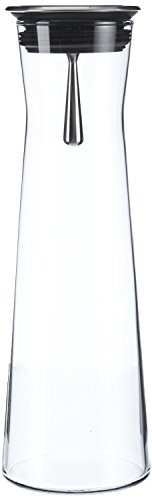 Jarra De Vidrio Para agua con Tapa Negra y Practico Colador 1,1L [vers