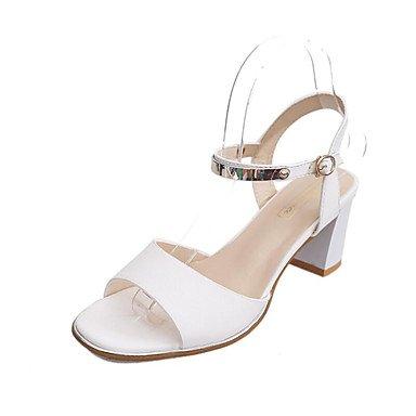 RUGAI-UE Estate Moda Donna Sandali Casual PU scarpe tacchi comfort,Arrossendo Rosa,US6 / EU36 / UK4 / CN36 White