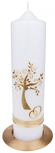 MaMeMi Hochzeitskerze: Lebensbaum Gold+Ringe