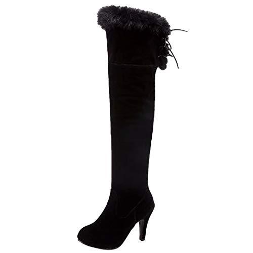 Stiletto Fell Stiefel (AIYOUMEI Damen Nubukleder Stiletto Overknee Stiefel mit Fell und Schnürung Warm Winter Langschaft Stiefel)