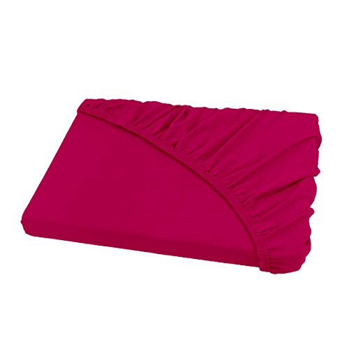SHC - Jersey Spannbettlaken, Spannbetttuch, 100% Baumwolle - 180x200 cm bis 200x200 cm, pink -