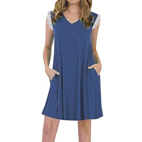 LOPILY Sommerkleid Damen Einfarbiges Swing Kleid mit Taschen Strandkleid Spitzen Arm Kleid für Frauen Casual Lässiges Minikleid Luftiges Sommerkleid (Marineblau, EU-38/CN-L) (Bilder Moulin Rouge Kostüme)
