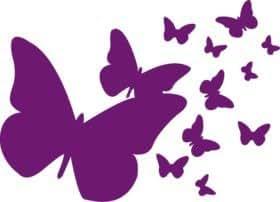 Stickers Miroir Papillon 18x25 cm Violet