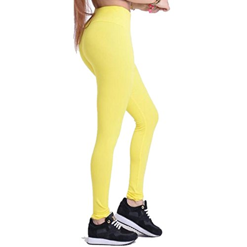 Dreaskull Leggings Jeggings Treggings Bleistifthose Stretchhose Damen Mädchen Hose Lang Blickdicht High Waist Skinny Slim Fit Schwarz Yoga Joggingshose Stretch Workout Fitness (M, Gelb)