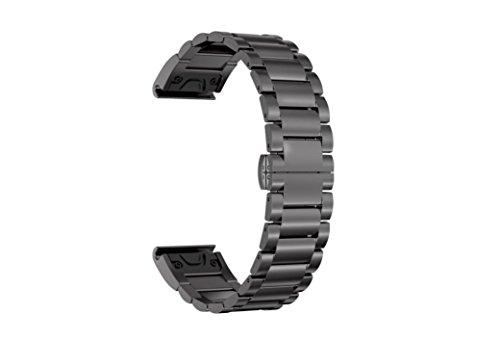 Jintime Ersatz GPS Uhr Armband Für Garmin Forerunner 935 Uhr Edelstahl Schnellverschluss Watch Gurt Wrist Watch Band Für Männer/Dame (Black)