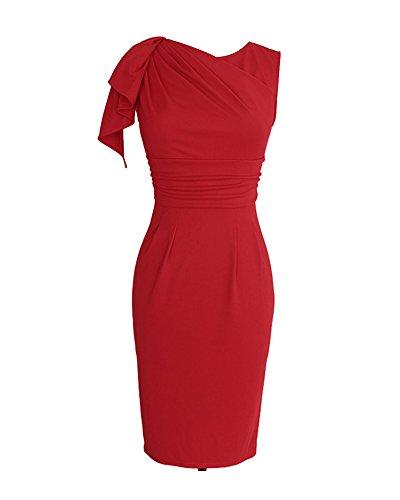 Whoinshop Damen Elegant Abendkleid Rundhals Etuikleid mit Falte Ärmellos Knielanges Cocktailkleid Pencil Kleid Rot
