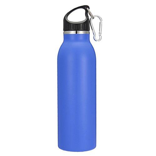 KING DO WAY 20oz/600ML 8 Farbe Edelstahlflasche mit Karabiner und Sport Cap Classic | Trinkflasche Thermosflasche Wasserflasche aus 18/403 Edelstahl | Auslaufsichere Vakuum-isolierte Sportflasche BPA Frei | Dunkelblau - 4
