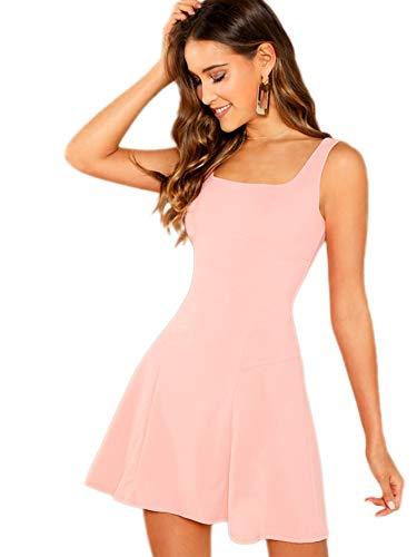 DIDK Damen Ärmellos Kleider Camisole Minikleider Einfarbig A Linie Sommerkleid Elegant Casual Freizeitkleid Strandkleid Ballonkleid Pink L