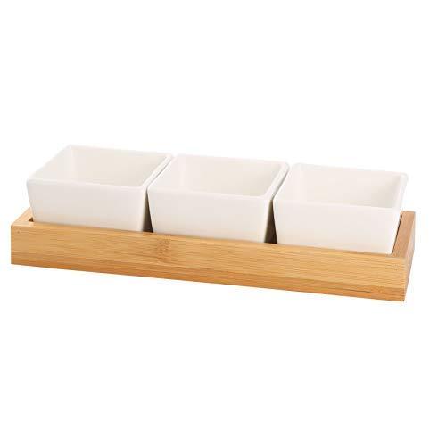 Home Decor Studio Dip-Set aus Keramik, mit Ständer aus Bambus, Weiß, mit Holzständer, ideal für Partys oder Dips -