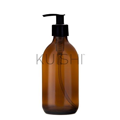 Kuishi Amber Brown Glass Soap Dispenser Bottle (300ml)